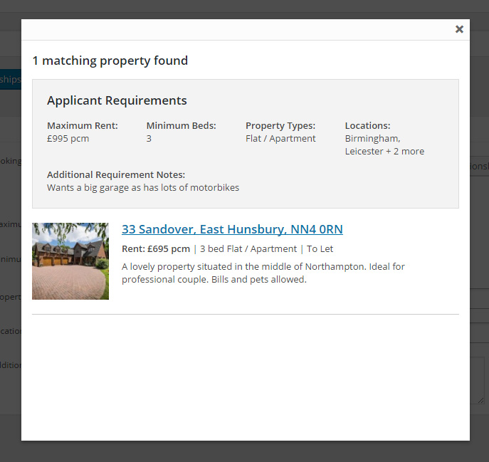 View a list of properties that match the applicant's requirements. You can them email these properties to the applicant.