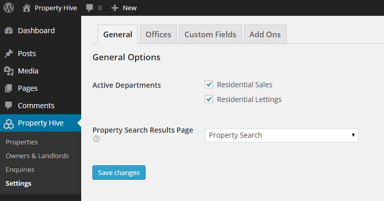 The 'Settings' section gives you control over which departments are active, add and edit offices, and edit the custom fields (types, locations etc) that appear within your install