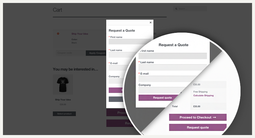 The customer requests his or her quote on your Woocommerce store