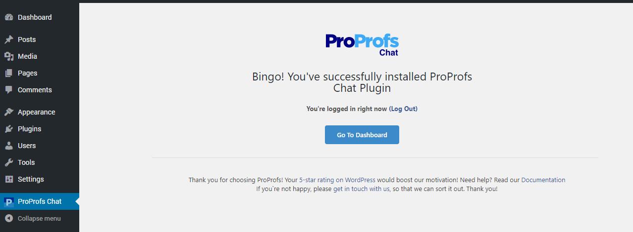 ProProfs Chat WordPress plugin successfully installed.