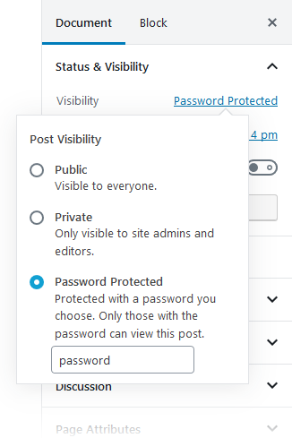 After changing to 'Password Protected' (note the checkbox directly above the Publish button)