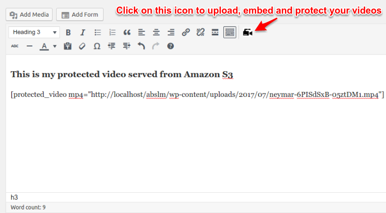 Icon to upload protected video in post editor
