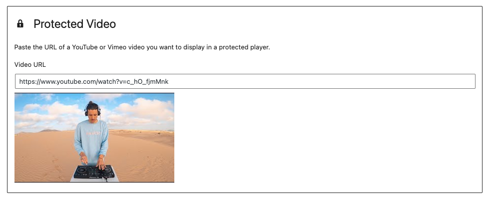Protected Video block in the blocks editor.