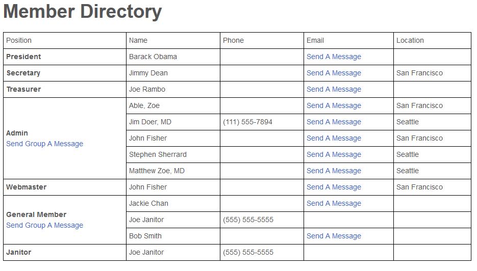 Member Directory - Public Side