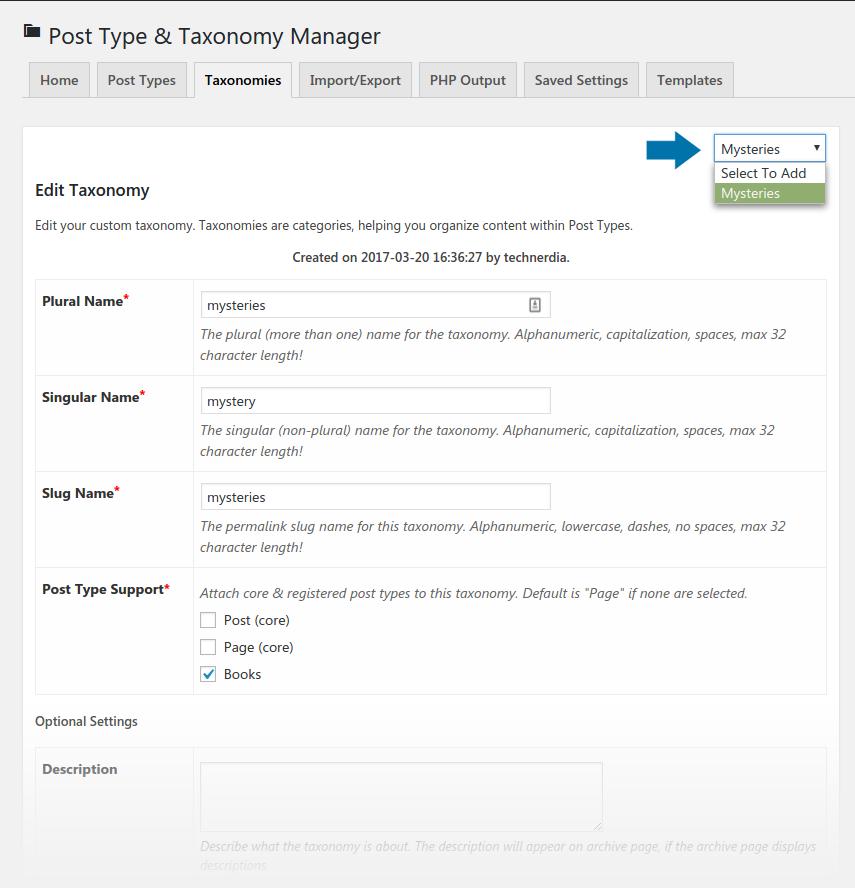 Taxonomy Tab - With Edit Dropdown