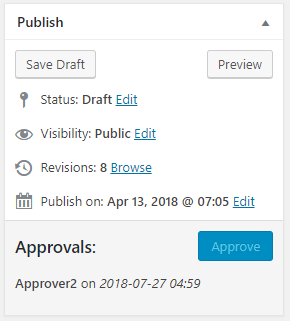 Publish widget with blocked approval because the logged-in user can't approve your own posts