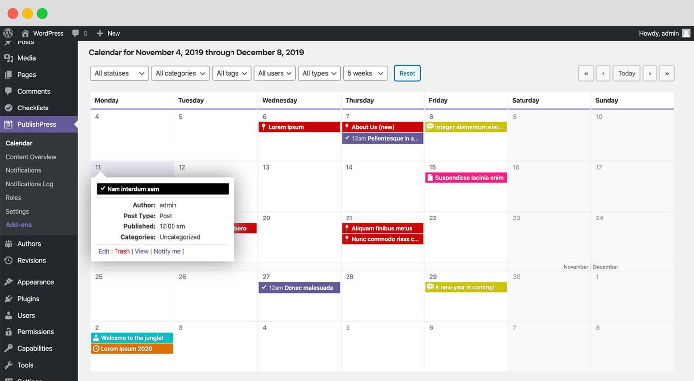 Screenshot of PublishPress editorial calendar