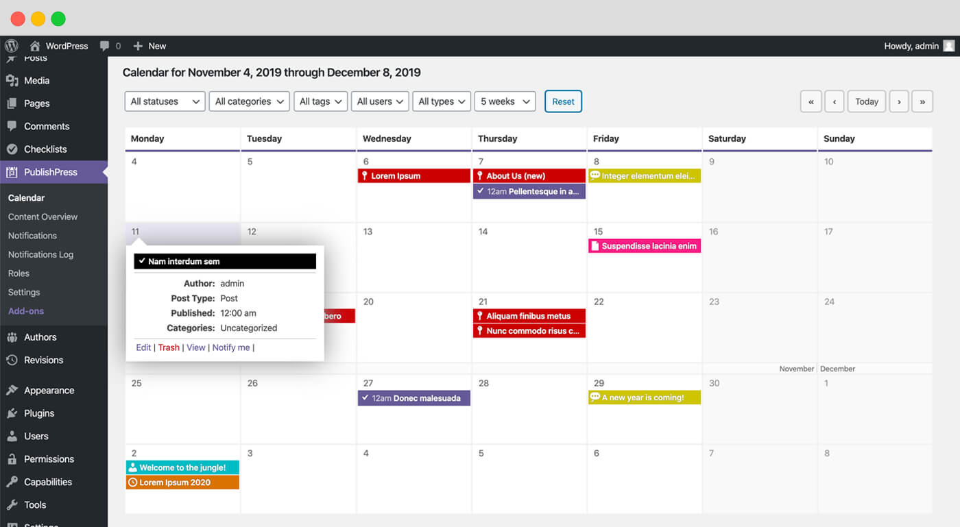 PublishPress: Editorial Calendar, Workflow, Comments, Notifications and Statuses