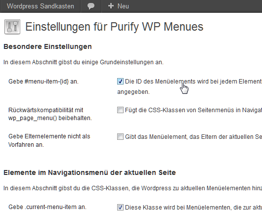 purify-wp-menues screenshot 2