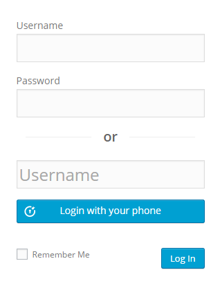 Login form option1 (Enter username)