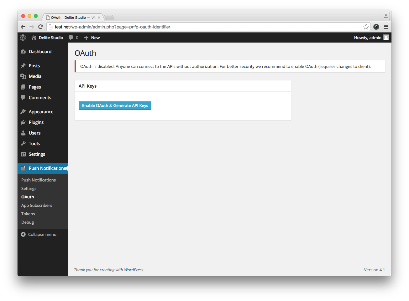The OAuth page (with OAuth disabled).