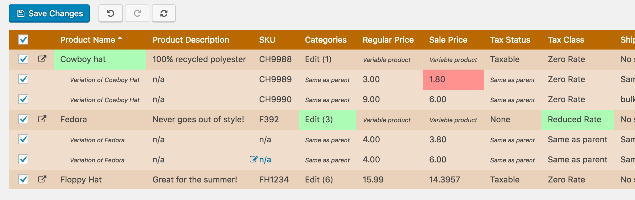 Preview all changes before saving. Price drops highlight in red to give you confidence in your changes!