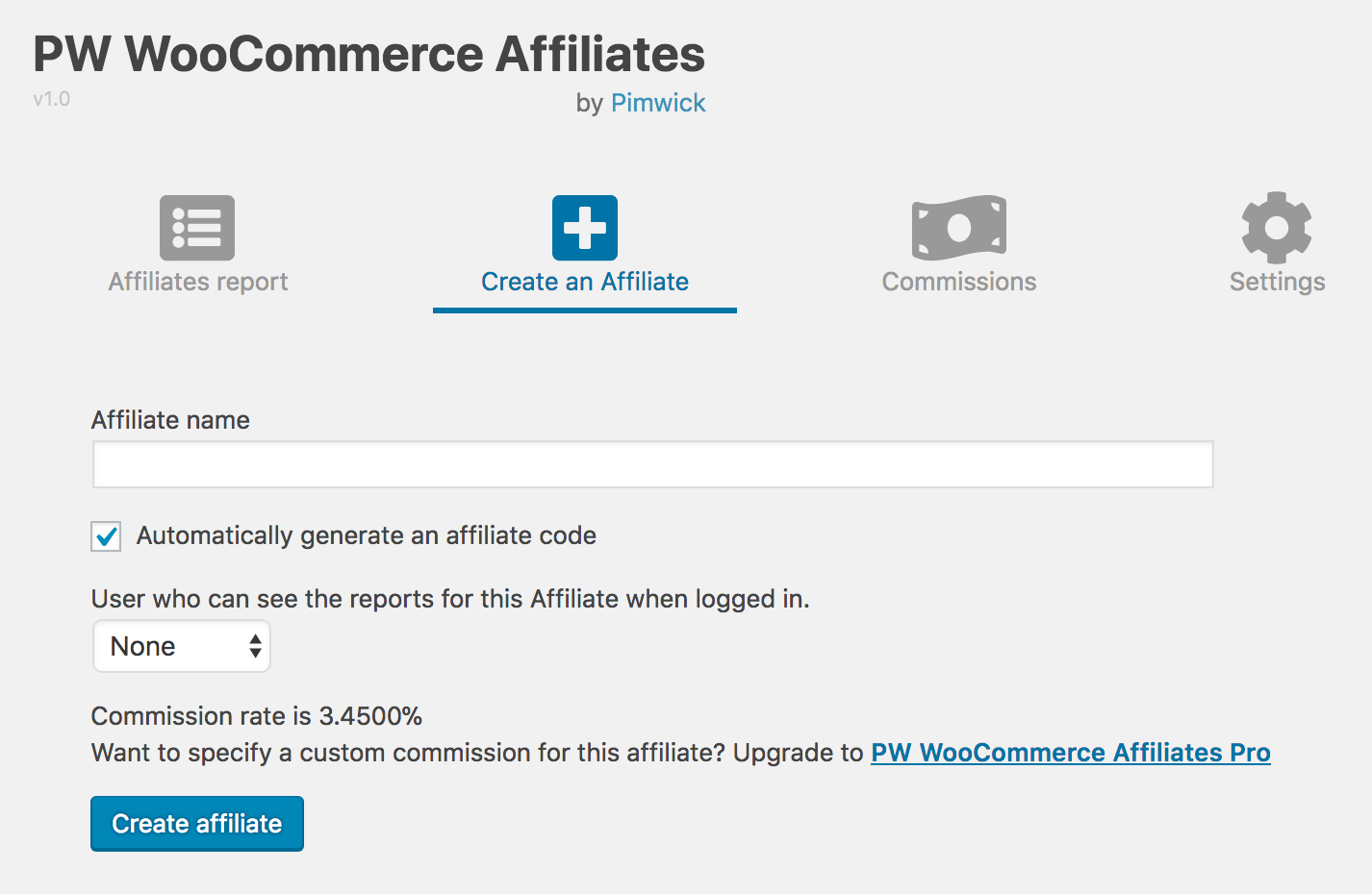 Creating an affiliate
