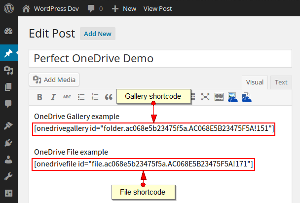Shortcodes in editor