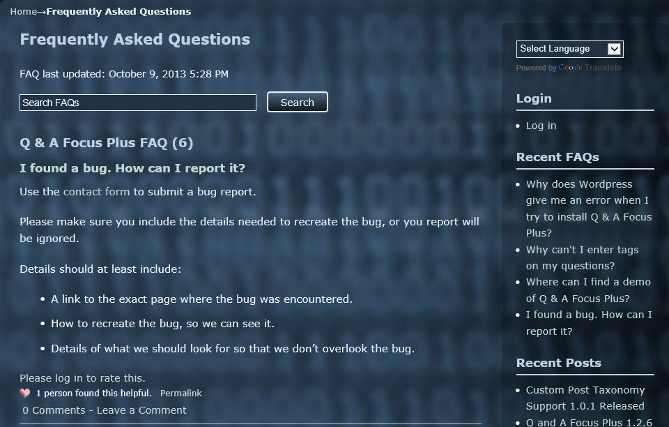q-and-a-focus-plus-faq screenshot 1