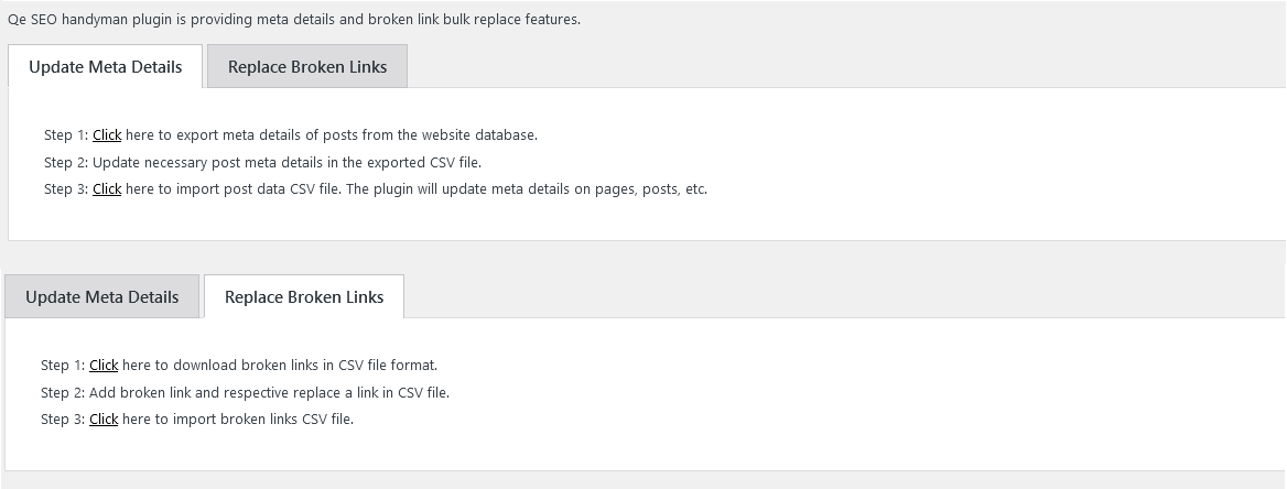 You can update meta detail and replace broken links using few steps.