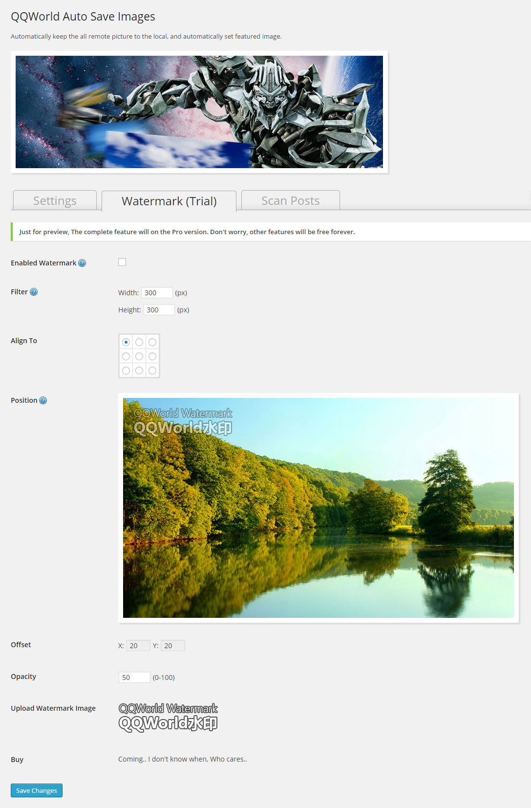 User interface - Preview watermark feature