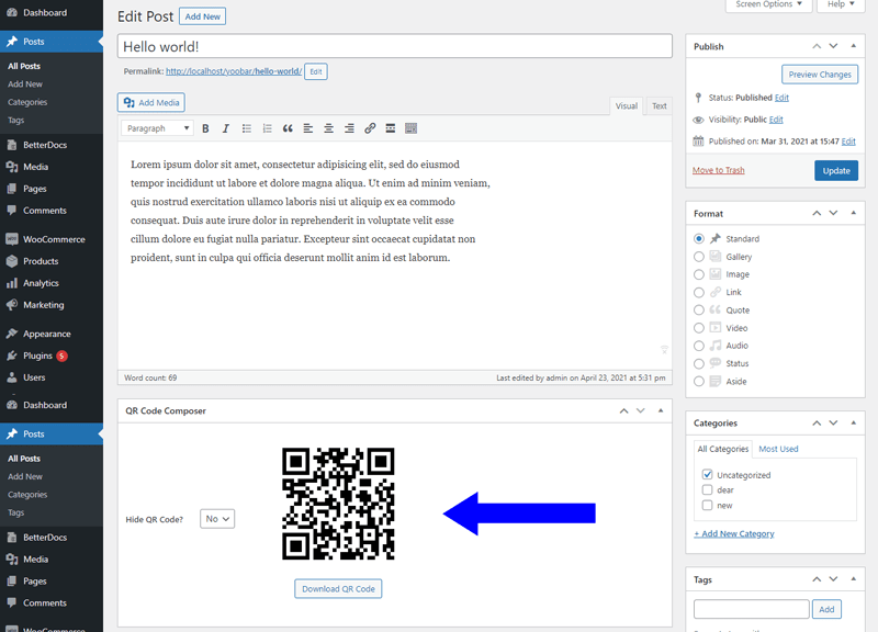 QRs Code Compose Admin Bar Addition in action - primary level (screenshot-2.png)