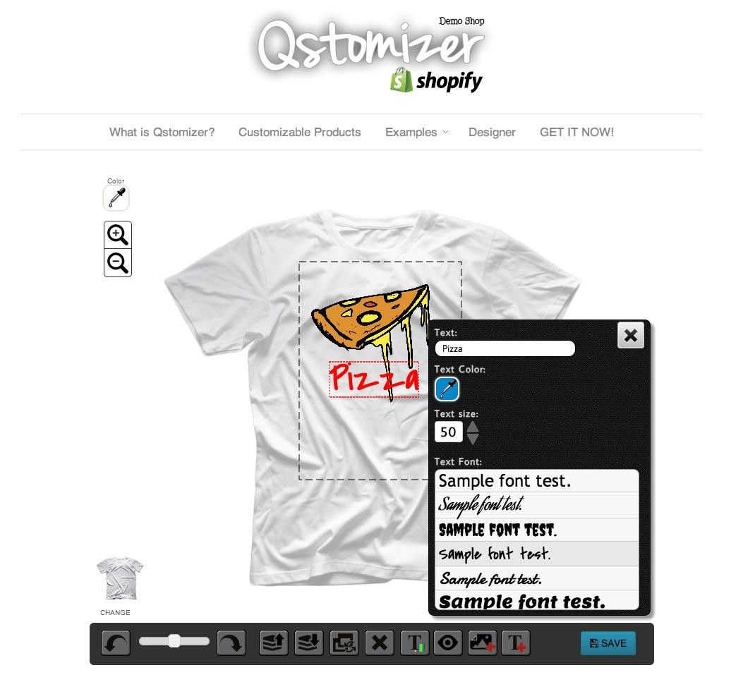 Shirt design wordpress plugin - Tshirt Example