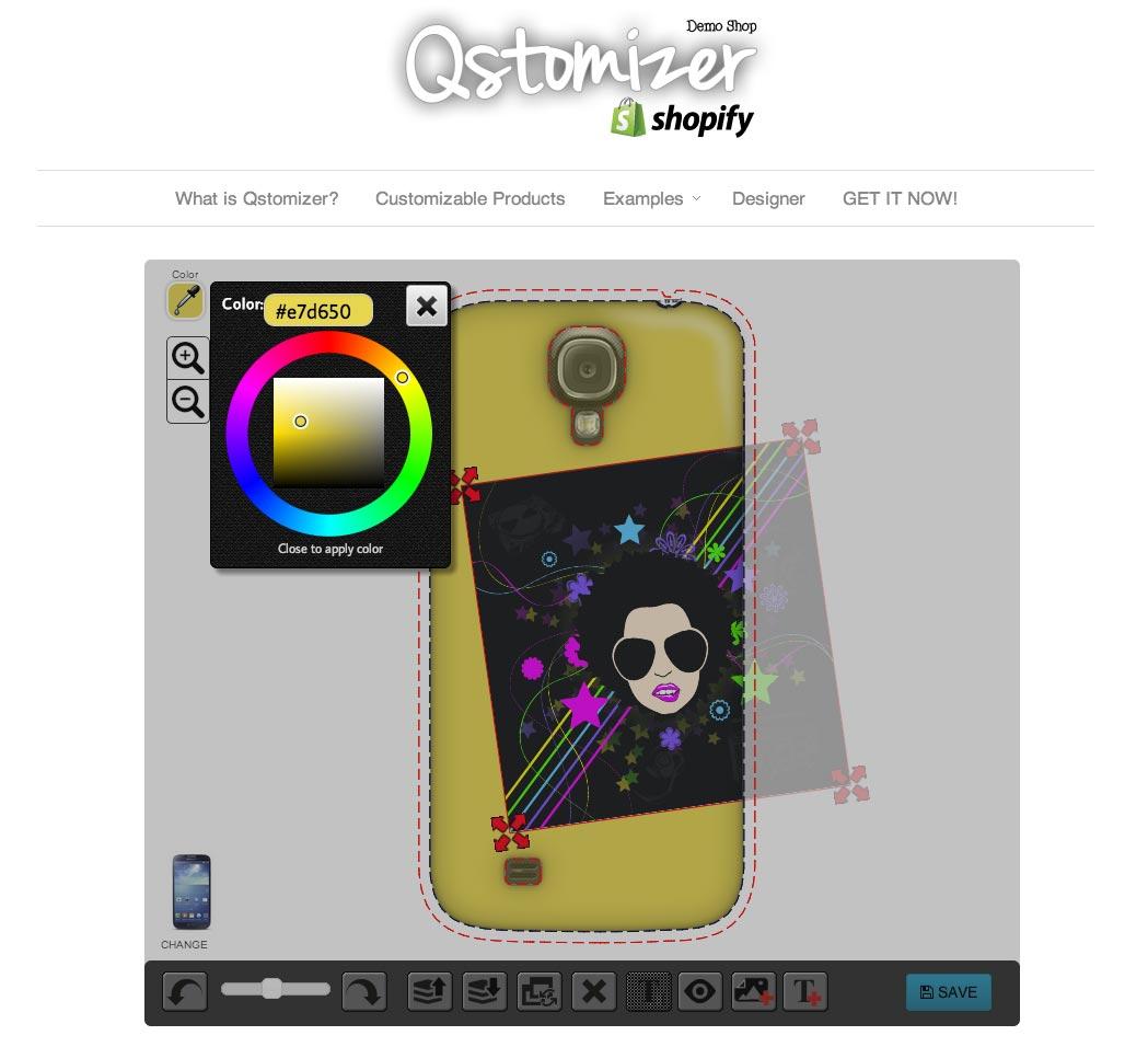 Shirt design wordpress plugin - Tshirt Example Cell Phone Case Example