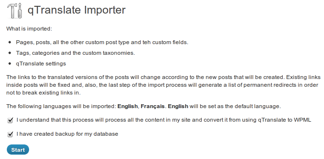 Import screen