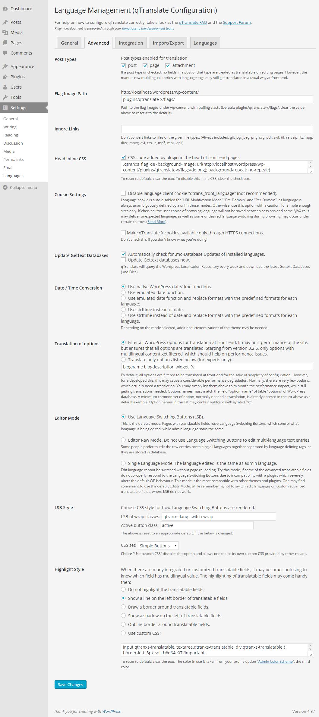 "Language Management Console - tab ""Advanced"". Read <a href=""https://qtranslatexteam.wordpress.com/startup-guide/"" title=""Startup Guide"">Startup Guide</a> and <a href=""https://qtranslatexteam.wordpress.com/faq/"" title=""qTranslate-X FAQ"">FAQ</a> for more information."