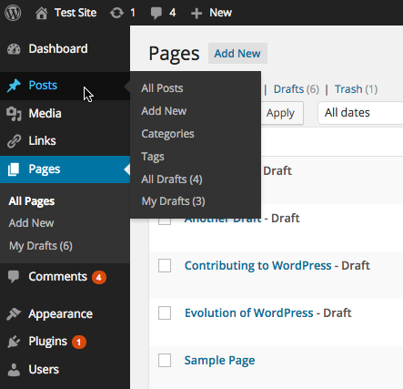 "A screenshot of the main admin menu (with the menu expanded) showing the ""All Drafts"" and ""My Drafts"" link (with pending draft counts) for both posts (in the sidebar menu popup) and pages (in the expanded sidebar menu). Note that for pages, the ""All Drafts"" link is not shown because the current user is responsible for all of the current page drafts."