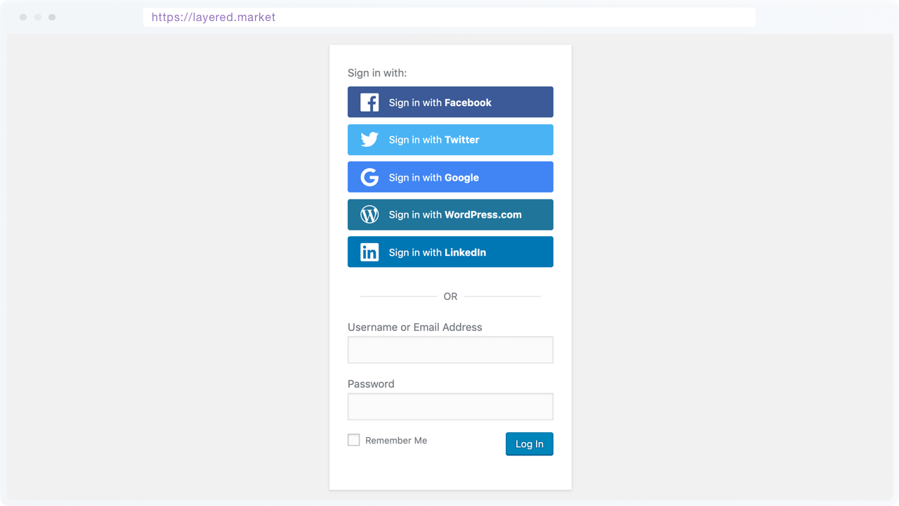 Login form with Quick Social Login buttons