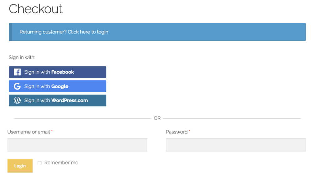 WooCommerce Checkout with Quick Social Login buttons