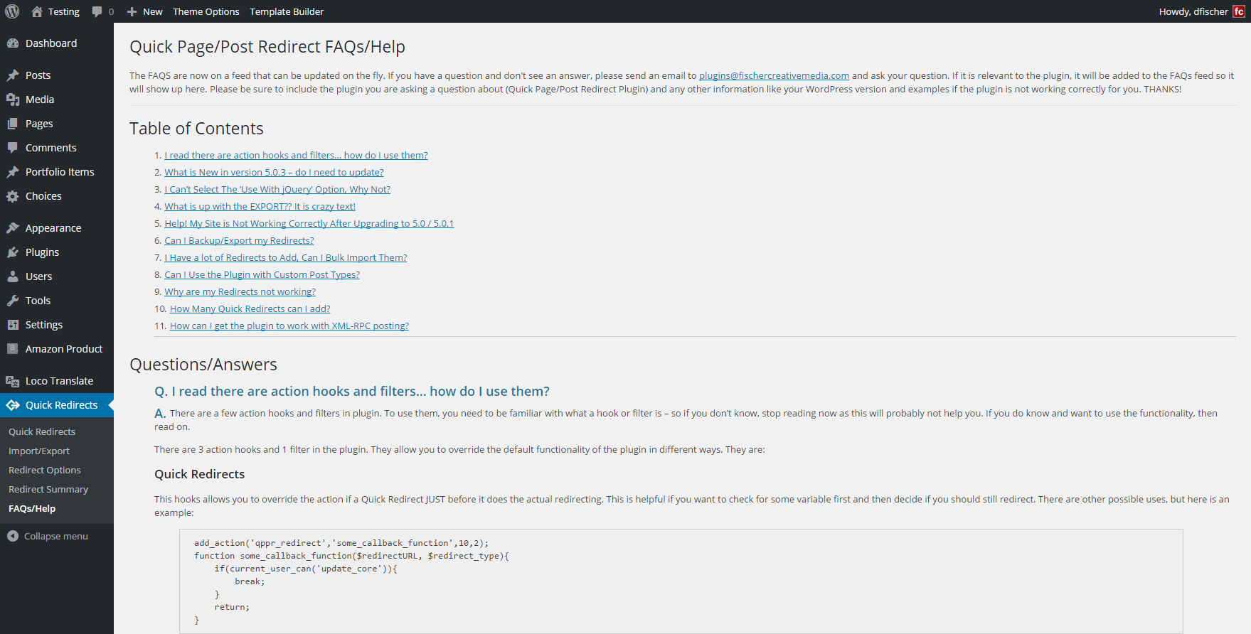 FAQs/Help Page. This is updated via an RSS feed so it can be updated regularly with fixes and common questions.