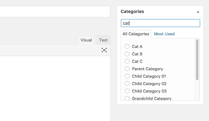 Quick Search Only Category Posting with radio button.