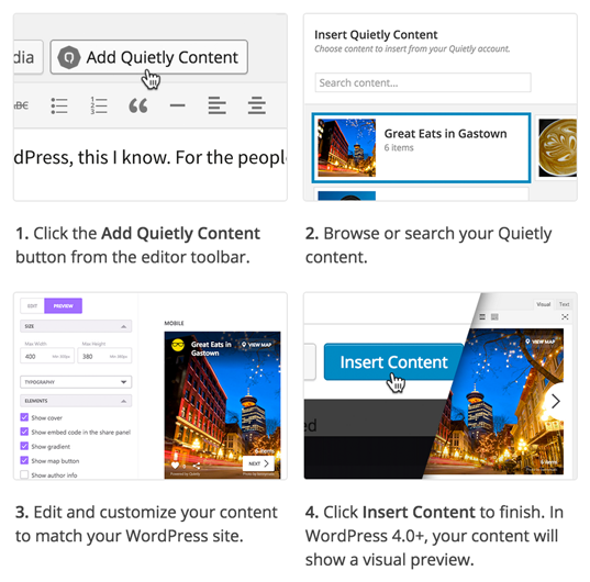 Easily insert your content or further customize it within your post editor before embedding.