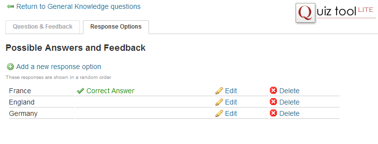 Editing response options