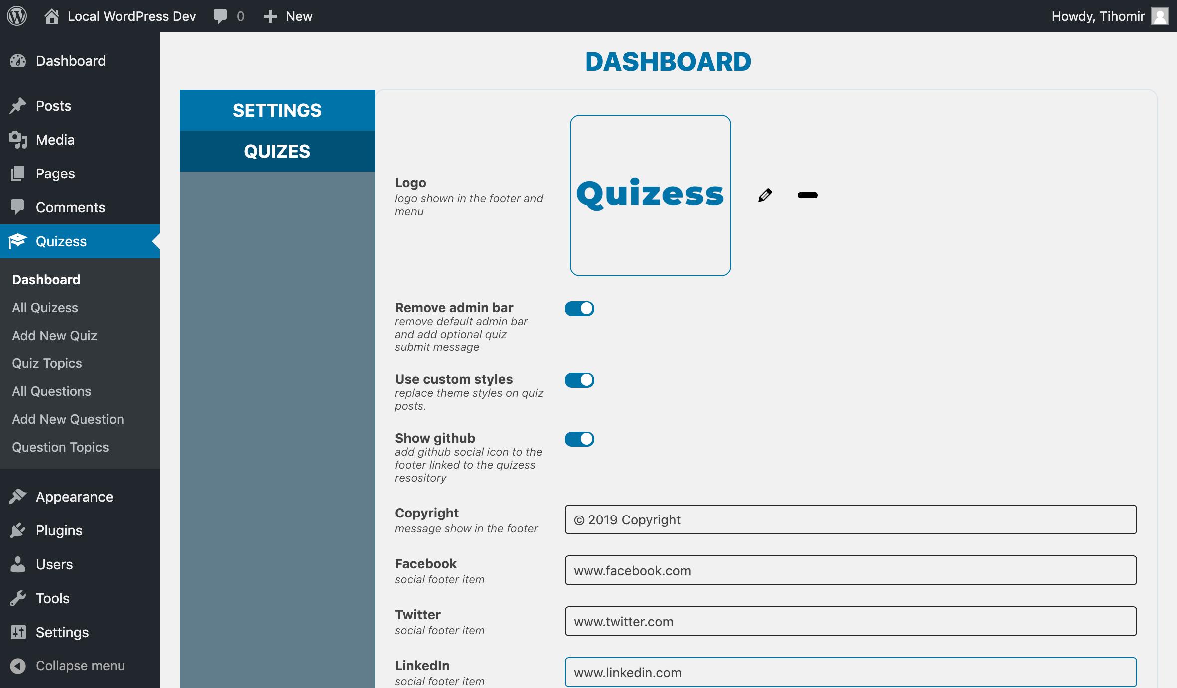 Admin dashboard options
