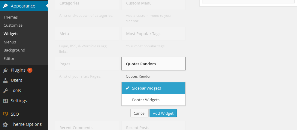 Configuring the widget on the admin screen (Appearance, Widgets).