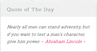 Screenshot of the wordpress page with a single Quote Of The Day widget.