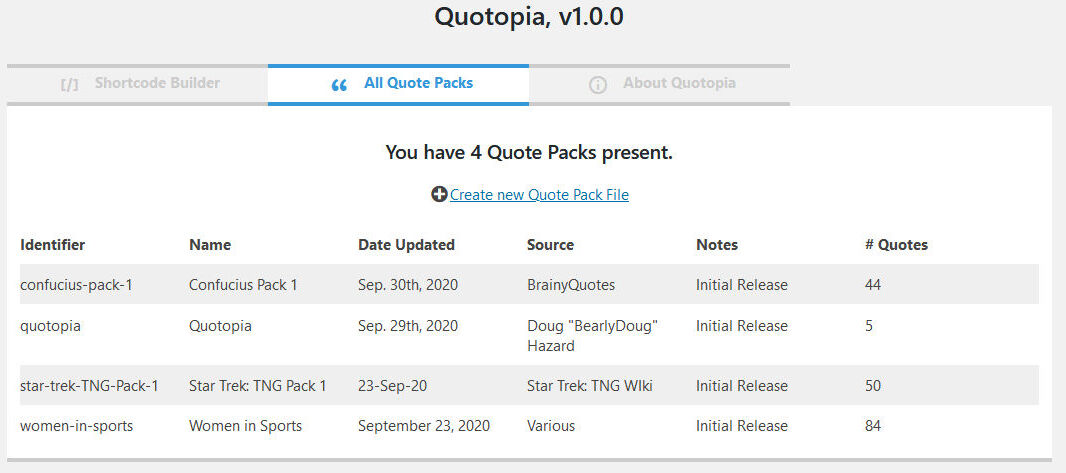 Quote Packs listing.