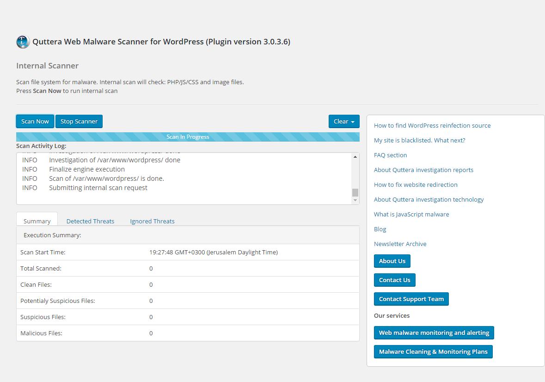 Quttera Web Malware Scanner Wordpress Malicious code plugin