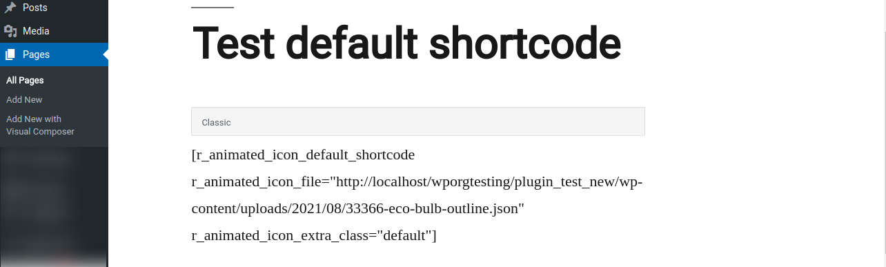 Add the Shortcode and add the File URL to r_animated_icon_file attribute