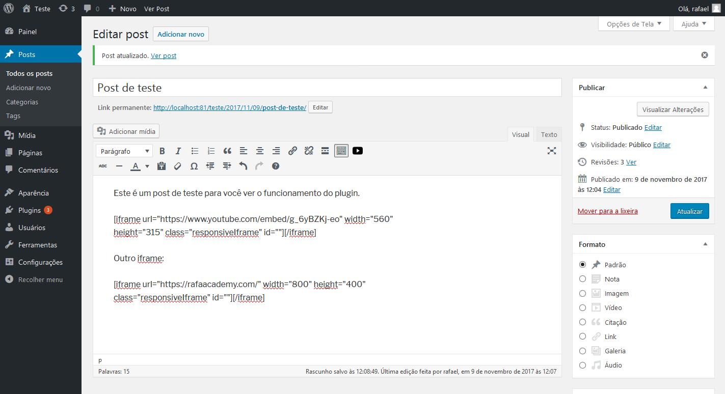 Shortcode in editor.
