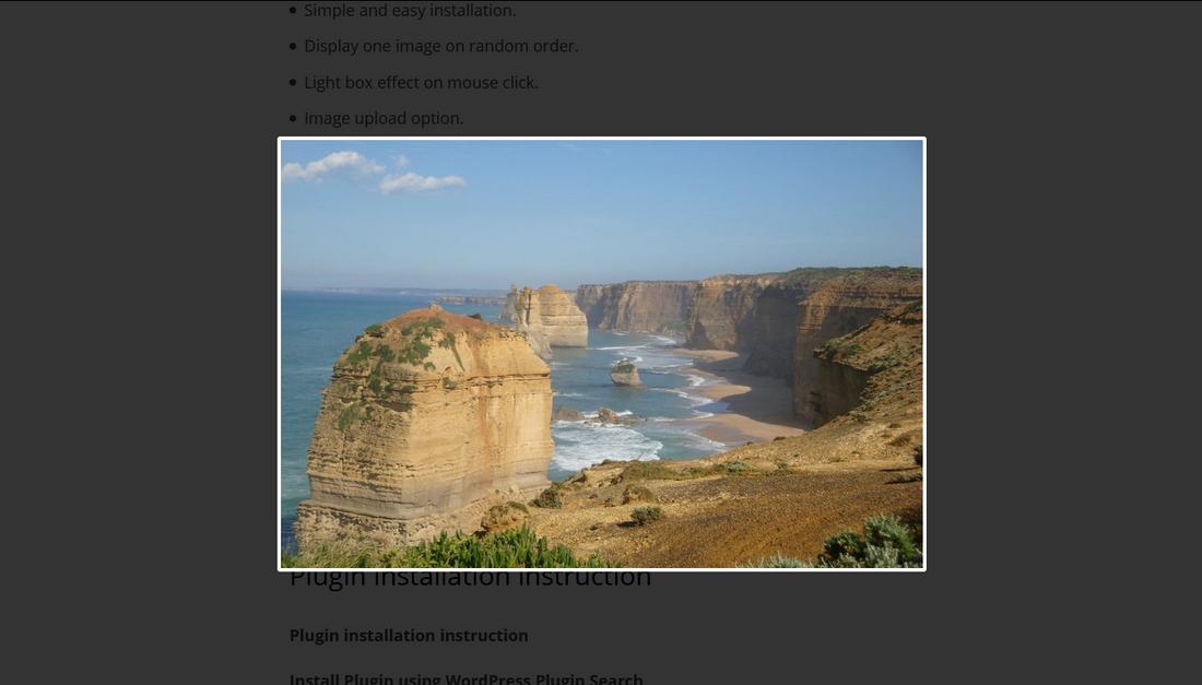 <p>Front Screen 2. http://www.gopiplus.com/work/2020/10/11/wordpress-plugin-random-image-light-box/</p>