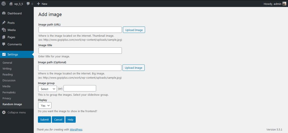 <p>Admin Screen 2. http://www.gopiplus.com/work/2020/10/11/wordpress-plugin-random-image-light-box/</p>