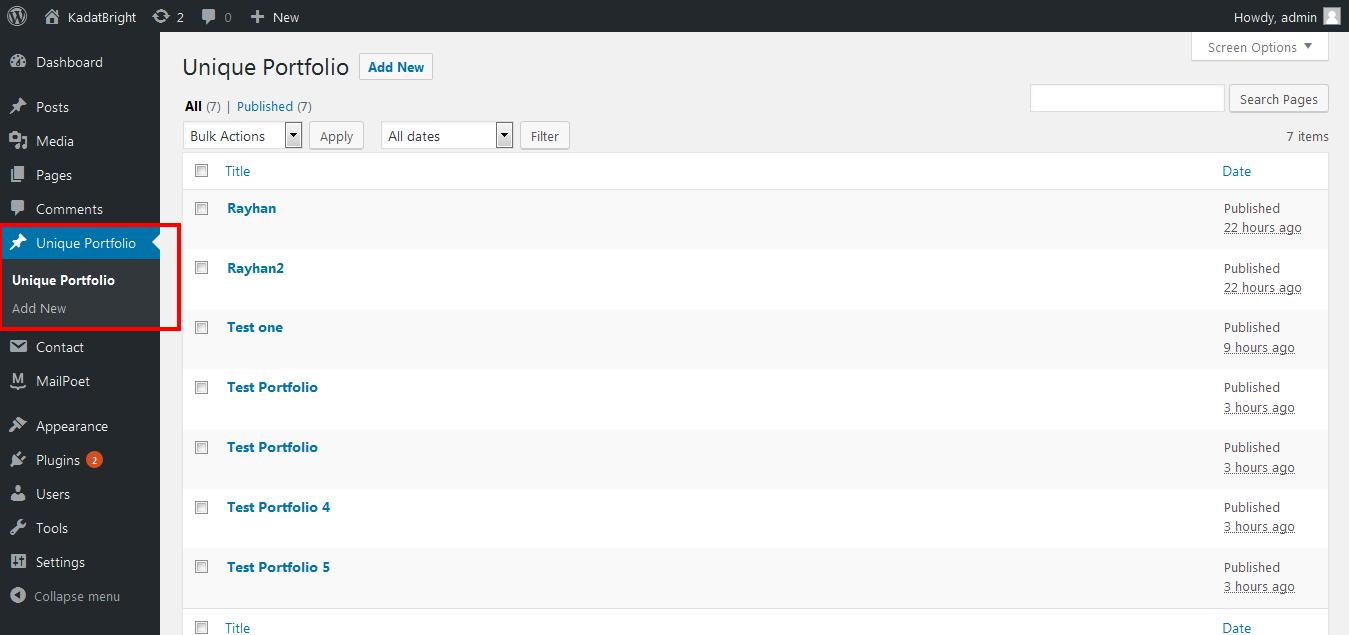 Dashboard Option for add portfolio.