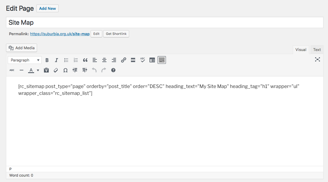 This screen shot shows an example shortcode being entered in the WordPress editor.