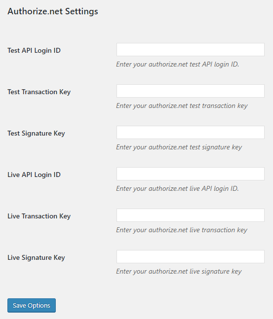 Authorize.net API key settings.
