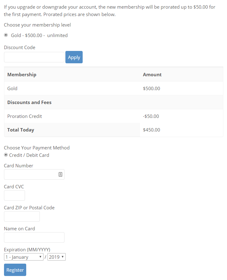 Registering with Authorize.net payment gateway.
