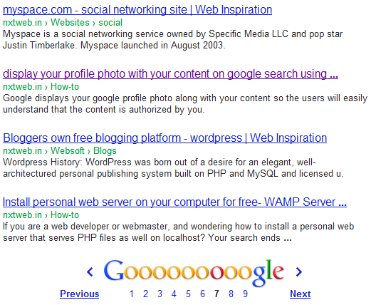 Breadcrumbs on google search results.