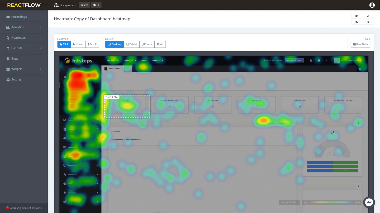Revolutionary Dynamic Heatmaps. It shows exactly which item in each of your pages get how many clicks. Including mouse hover and scrolls.