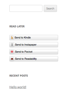 The Read Later Buttons widget in the sidebar.