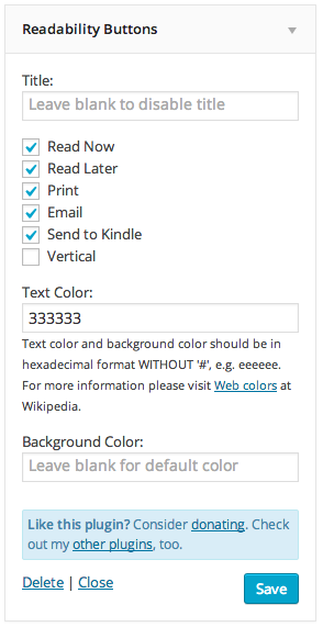All settings on readability.com are available to change.